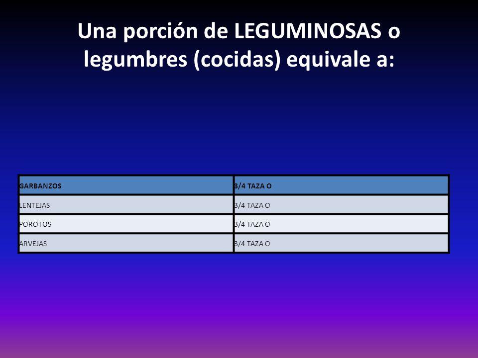 Una porción de LEGUMINOSAS o legumbres (cocidas) equivale a: GARBANZOS3/4 TAZA O LENTEJAS3/4 TAZA O POROTOS3/4 TAZA O ARVEJAS3/4 TAZA O
