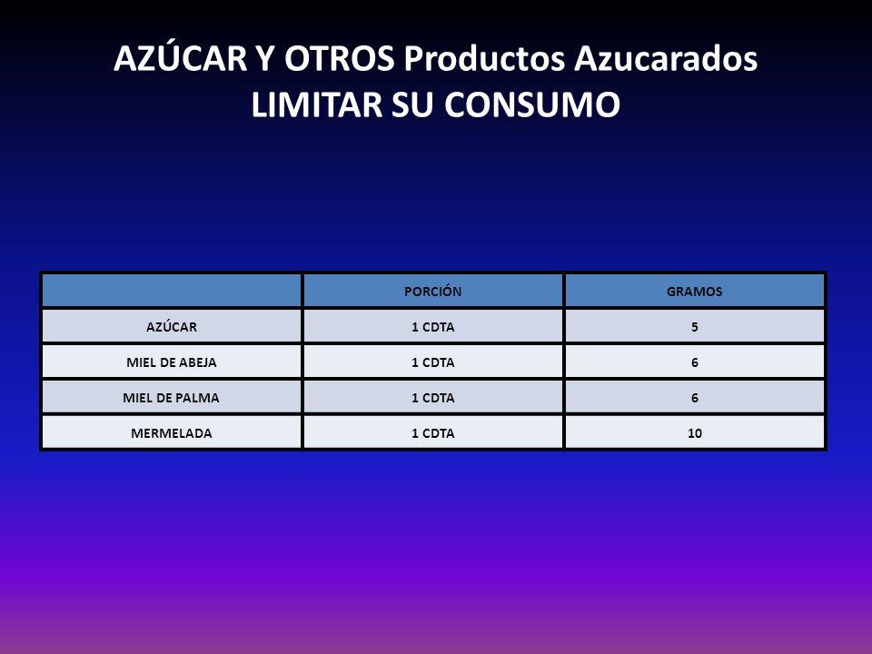 AZÚCAR Y OTROS Productos Azucarados LIMITAR SU CONSUMO PORCIÓNGRAMOS AZÚCAR1 CDTA5 MIEL DE ABEJA1 CDTA6 MIEL DE PALMA1 CDTA6 MERMELADA1 CDTA10