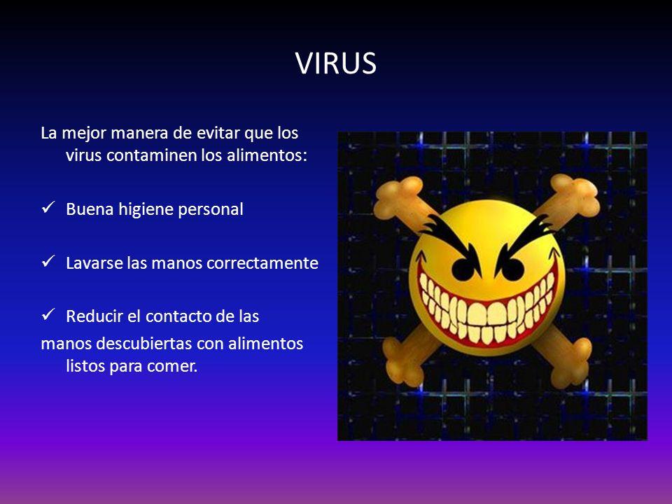 VIRUS La mejor manera de evitar que los virus contaminen los alimentos: Buena higiene personal Lavarse las manos correctamente Reducir el contacto de