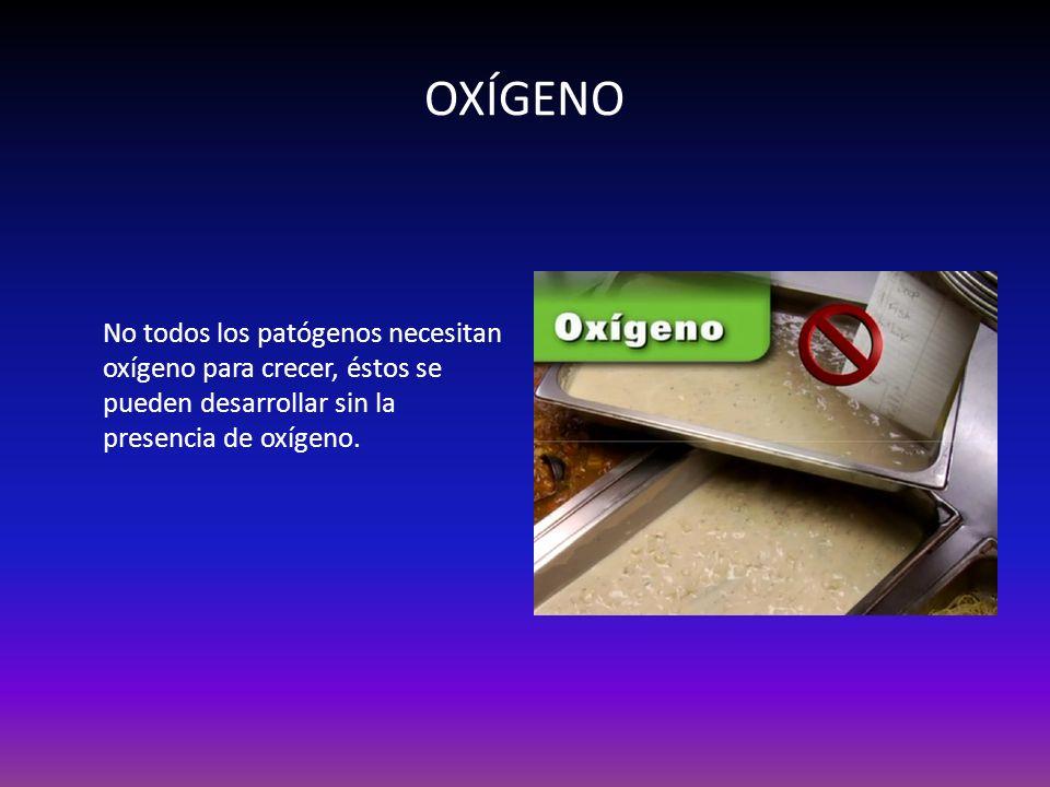 OXÍGENO No todos los patógenos necesitan oxígeno para crecer, éstos se pueden desarrollar sin la presencia de oxígeno.
