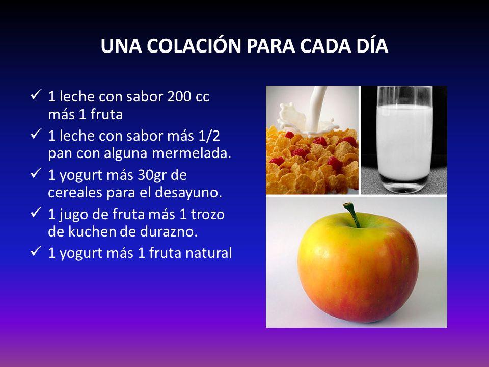 UNA COLACIÓN PARA CADA DÍA 1 leche con sabor 200 cc más 1 fruta 1 leche con sabor más 1/2 pan con alguna mermelada. 1 yogurt más 30gr de cereales para