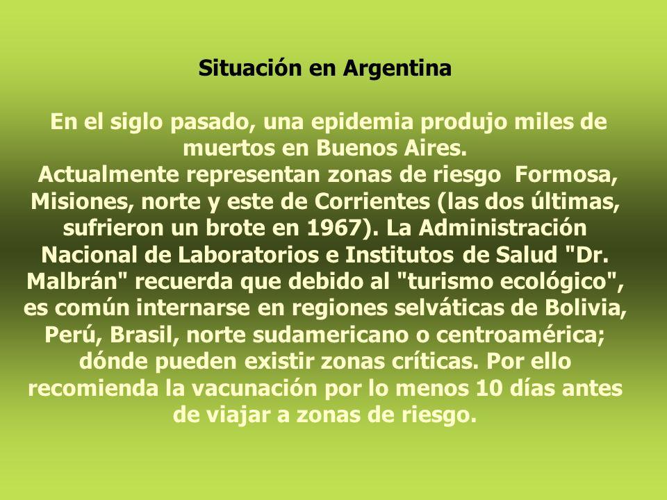 Situación en Argentina En el siglo pasado, una epidemia produjo miles de muertos en Buenos Aires. Actualmente representan zonas de riesgo Formosa, Mis