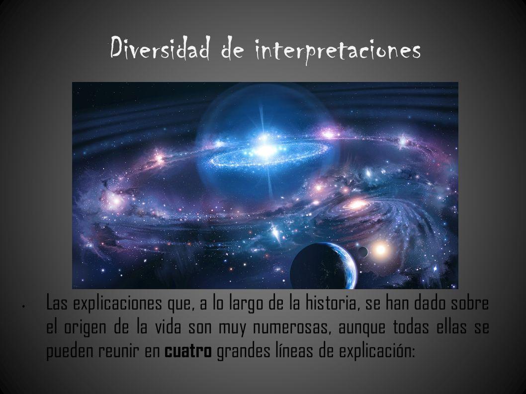 Diversidad de interpretaciones Las explicaciones que, a lo largo de la historia, se han dado sobre el origen de la vida son muy numerosas, aunque toda