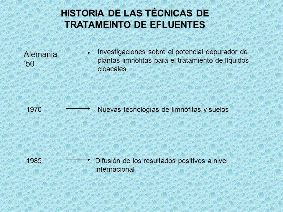 HISTORIA DE LAS TÉCNICAS DE TRATAMEINTO DE EFLUENTES Alemania 50 Investigaciones sobre el potencial depurador de plantas limnófitas para el tratamient