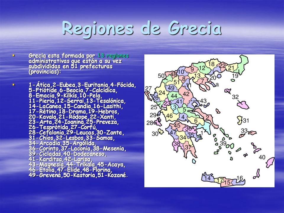 Regiones de Grecia Grecia esta formada por 13 regiones administrativas que están a su vez subdivididas en 51 prefecturas (provincias): Grecia esta for