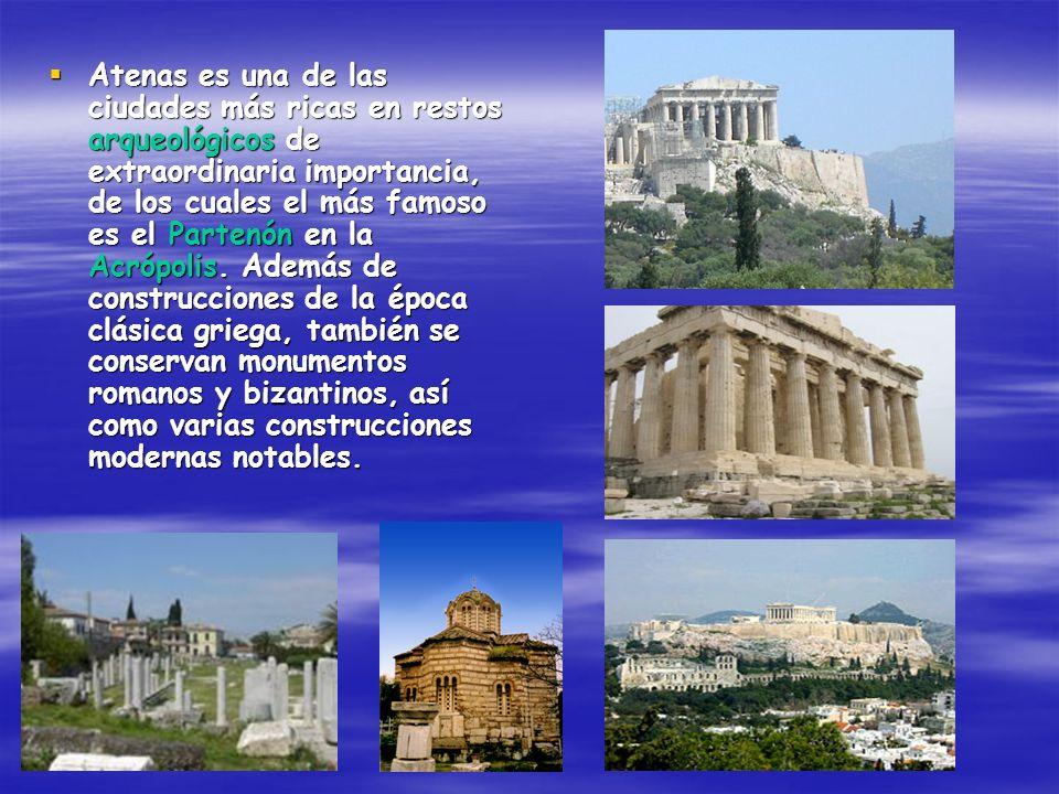 Atenas es una de las ciudades más ricas en restos arqueológicos de extraordinaria importancia, de los cuales el más famoso es el Partenón en la Acrópo