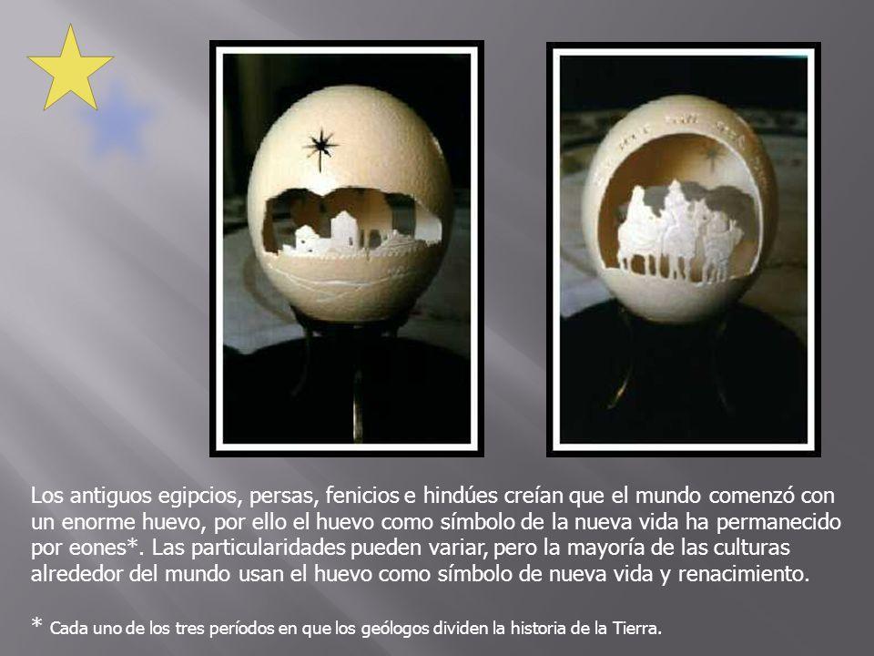 Los antiguos egipcios, persas, fenicios e hindúes creían que el mundo comenzó con un enorme huevo, por ello el huevo como símbolo de la nueva vida ha