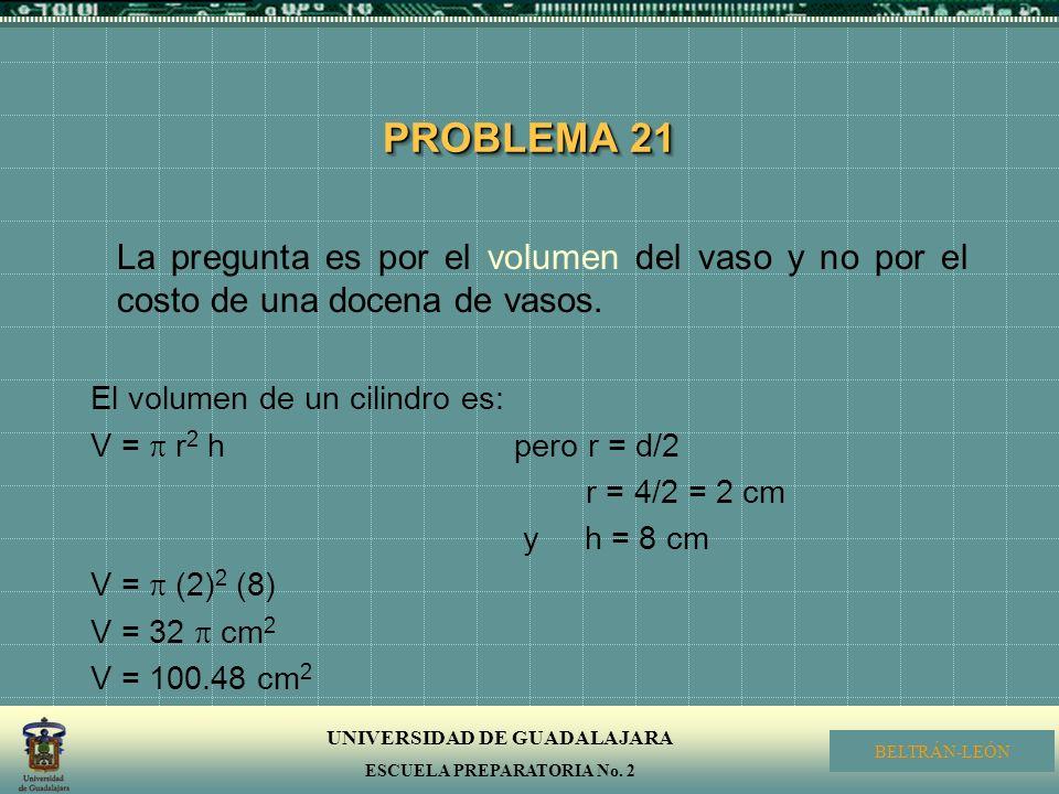 UNIVERSIDAD DE GUADALAJARA ESCUELA PREPARATORIA No. 2 BELTRÁN-LEÓN PROBLEMA 21 La pregunta es por el volumen del vaso y no por el costo de una docena