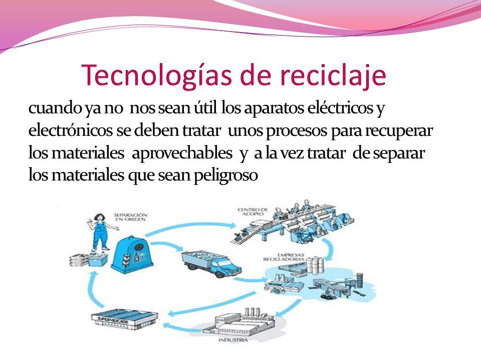 cuando ya no nos sean útil los aparatos eléctricos y electrónicos se deben tratar unos procesos para recuperar los materiales aprovechables y a la vez
