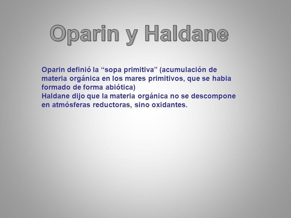 Oparin definió la sopa primitiva (acumulación de materia orgánica en los mares primitivos, que se habia formado de forma abiótica) Haldane dijo que la materia orgánica no se descompone en atmósferas reductoras, sino oxidantes.