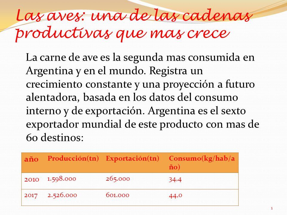 Las aves: una de las cadenas productivas que mas crece La carne de ave es la segunda mas consumida en Argentina y en el mundo.
