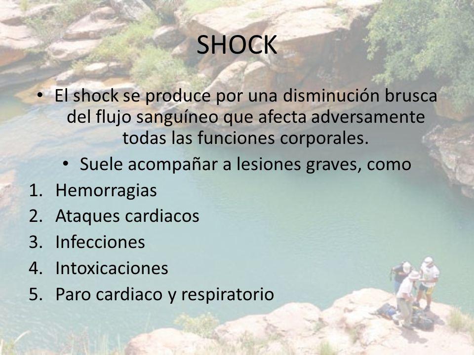 SHOCK El shock se produce por una disminución brusca del flujo sanguíneo que afecta adversamente todas las funciones corporales. Suele acompañar a les