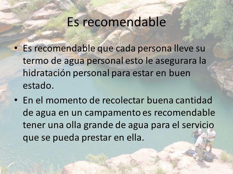 Es recomendable Es recomendable que cada persona lleve su termo de agua personal esto le asegurara la hidratación personal para estar en buen estado.