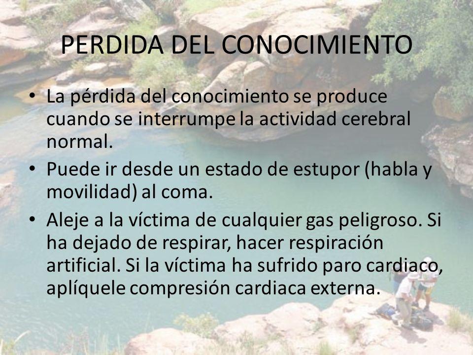PERDIDA DEL CONOCIMIENTO Asegúrese de que la víctima tiene libres las vías respiratorias.