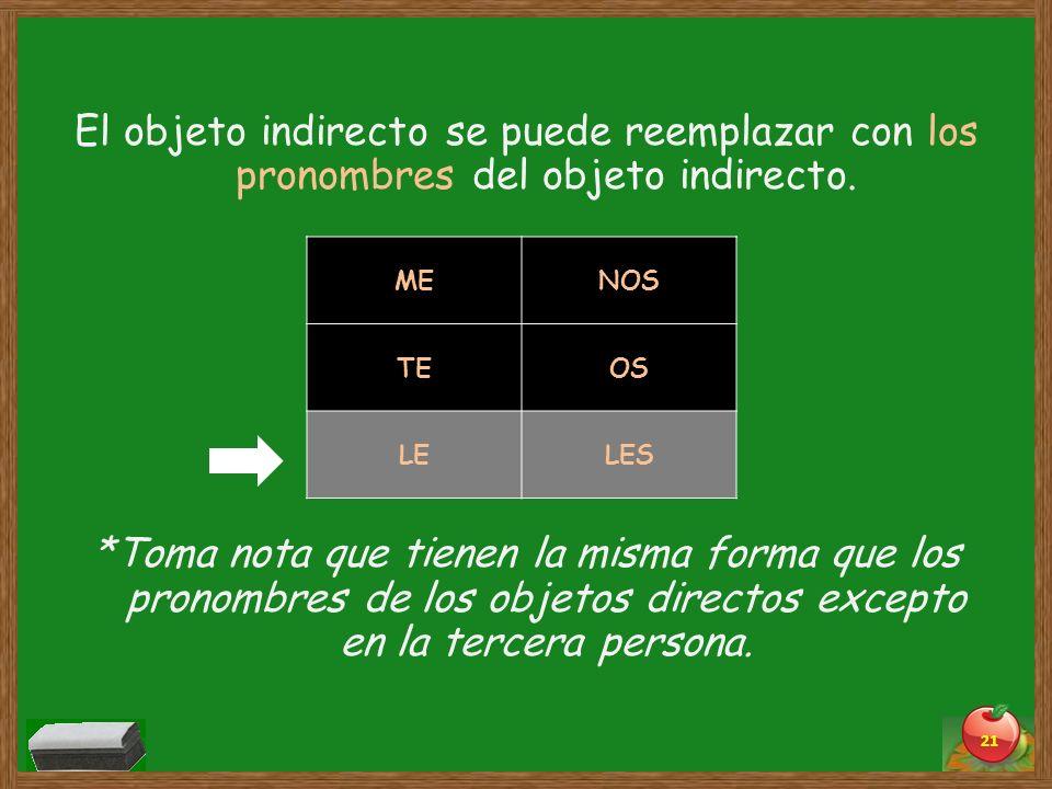 El objeto indirecto se puede reemplazar con los pronombres del objeto indirecto. *Toma nota que tienen la misma forma que los pronombres de los objeto