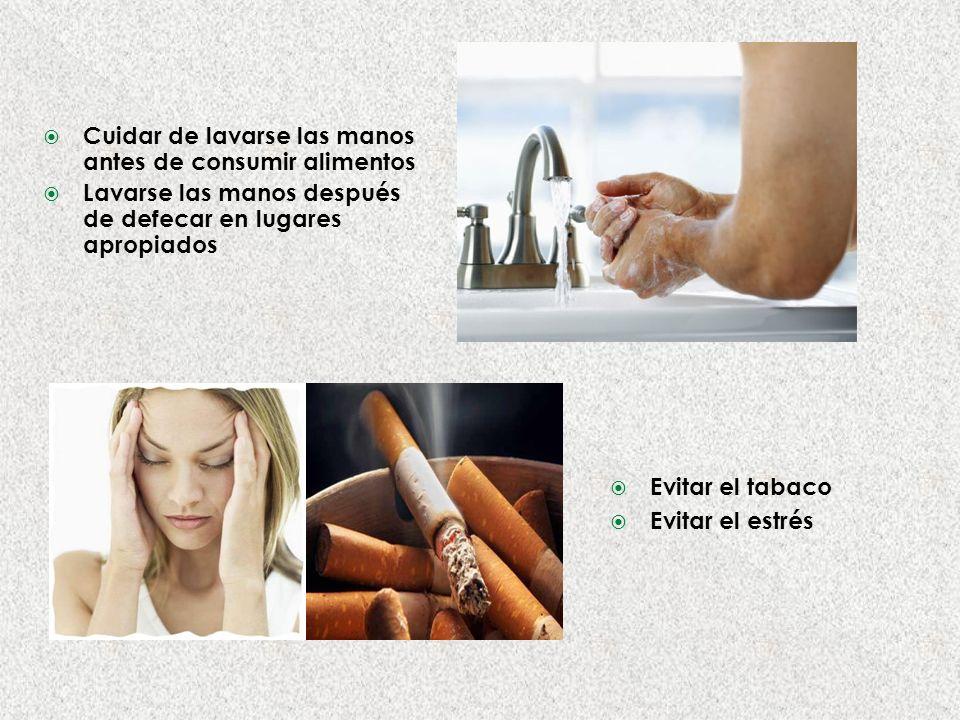 Cuidar de lavarse las manos antes de consumir alimentos Lavarse las manos después de defecar en lugares apropiados Evitar el tabaco Evitar el estrés