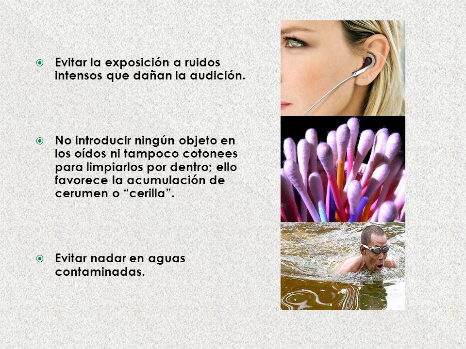 Evitar la exposición a ruidos intensos que dañan la audición.