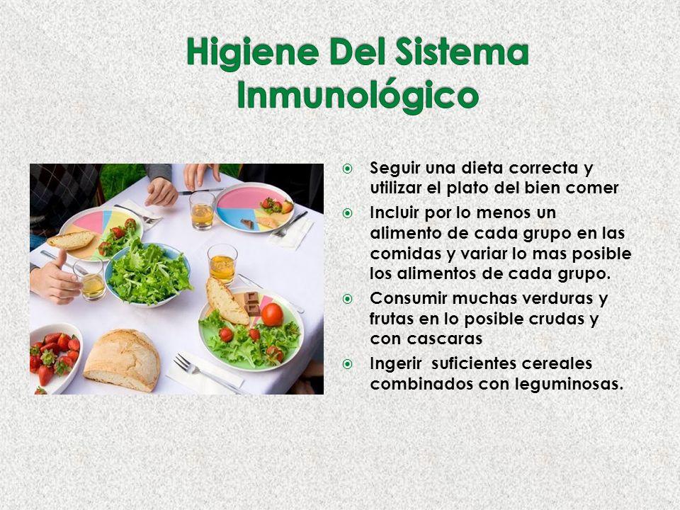 Seguir una dieta correcta y utilizar el plato del bien comer Incluir por lo menos un alimento de cada grupo en las comidas y variar lo mas posible los alimentos de cada grupo.