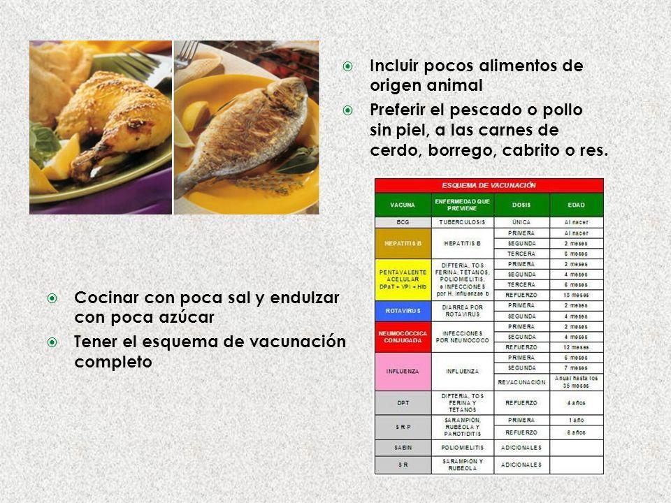Incluir pocos alimentos de origen animal Preferir el pescado o pollo sin piel, a las carnes de cerdo, borrego, cabrito o res.