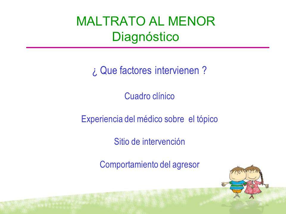 ¿ Que factores intervienen ? Cuadro clínico Experiencia del médico sobre el tópico Sitio de intervención Comportamiento del agresor MALTRATO AL MENOR