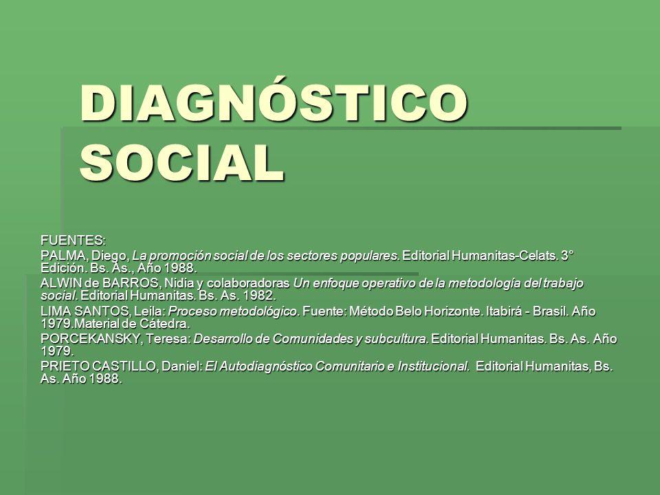 DIAGNÓSTICO SOCIAL FUENTES: PALMA, Diego, La promoción social de los sectores populares.