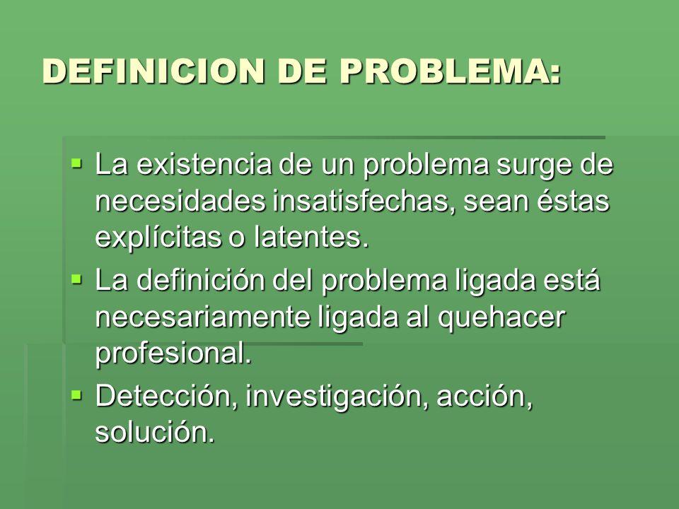 DEFINICION DE PROBLEMA: La existencia de un problema surge de necesidades insatisfechas, sean éstas explícitas o latentes.