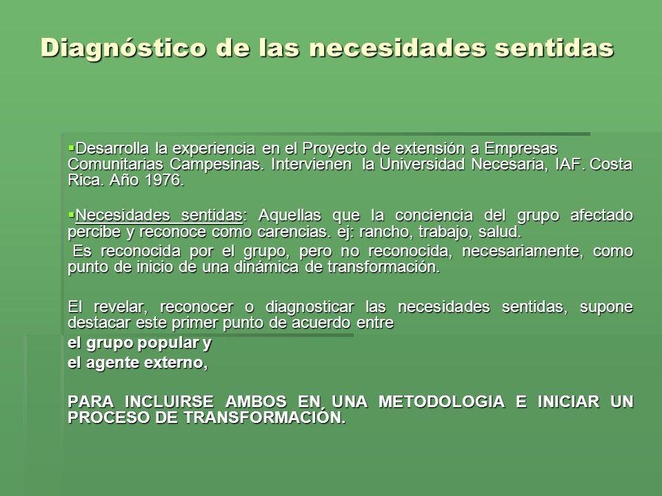 Diagnóstico de las necesidades sentidas Desarrolla la experiencia en el Proyecto de extensión a Empresas Comunitarias Campesinas.