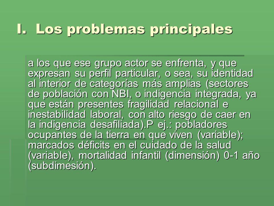 Esto es: establecer el listado de problemas más relevantes, establecer el listado de problemas más relevantes, SENTIDOS por los actores SENTIDOS por los actores relacionados entre sí.