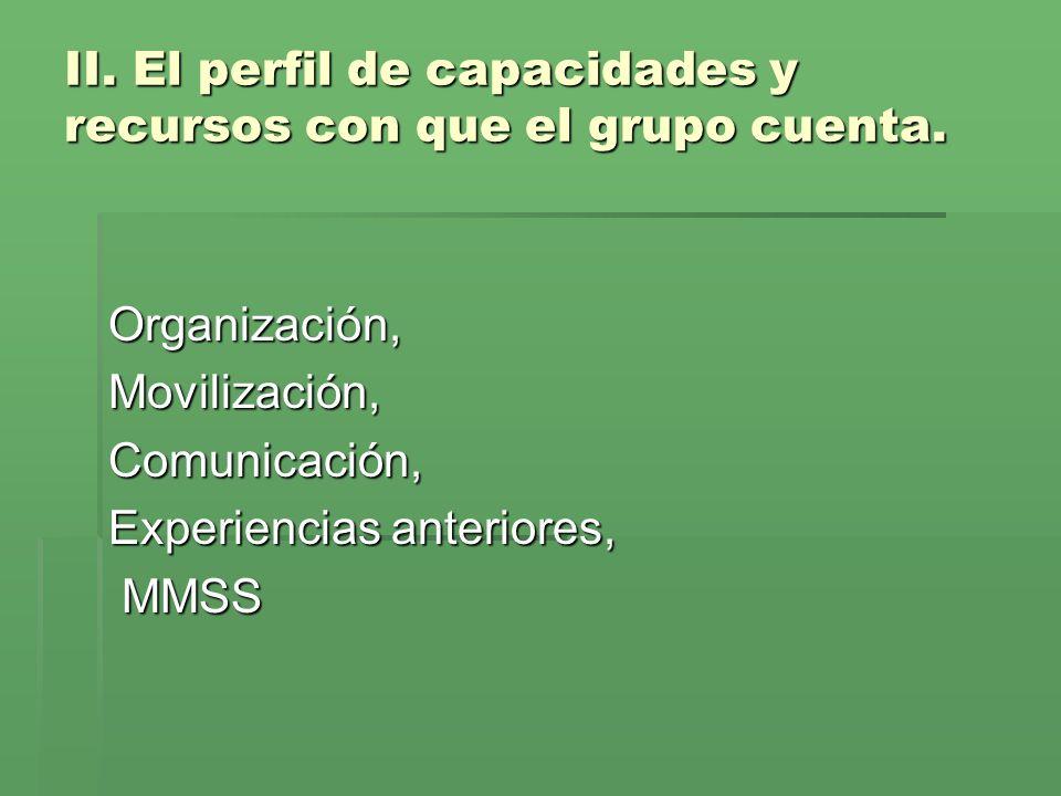 II. El perfil de capacidades y recursos con que el grupo cuenta. Organización,Movilización,Comunicación, Experiencias anteriores, MMSS MMSS