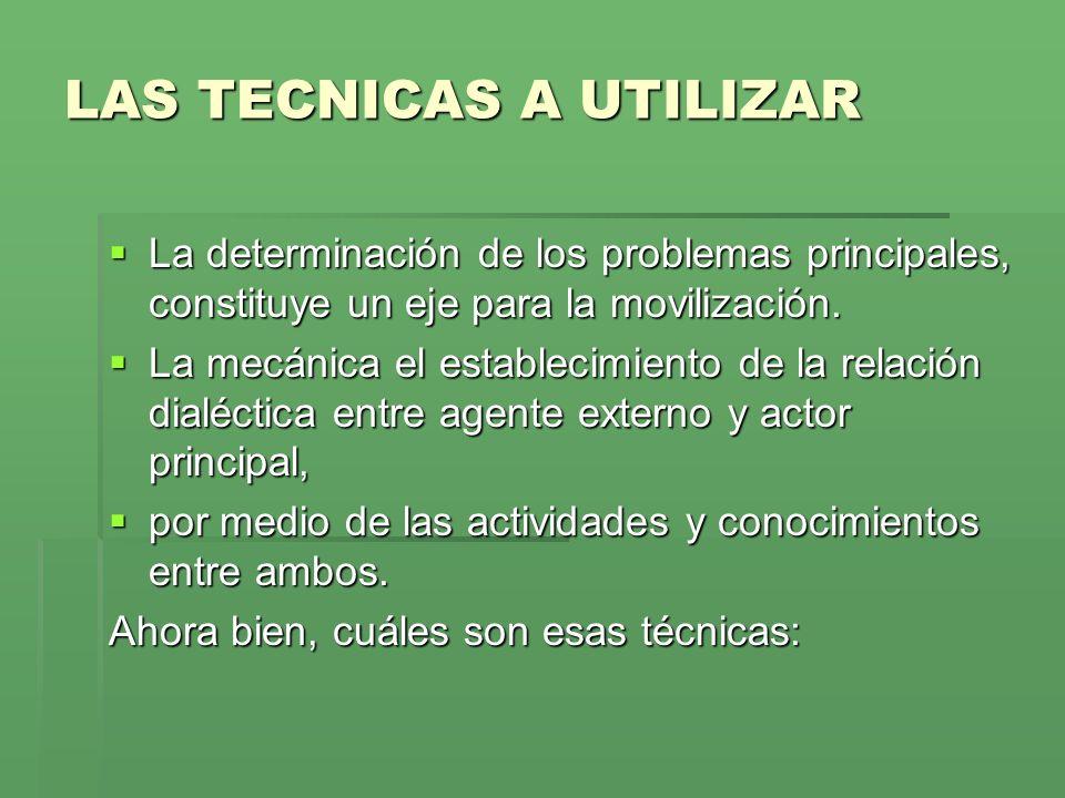 LAS TECNICAS A UTILIZAR La determinación de los problemas principales, constituye un eje para la movilización.