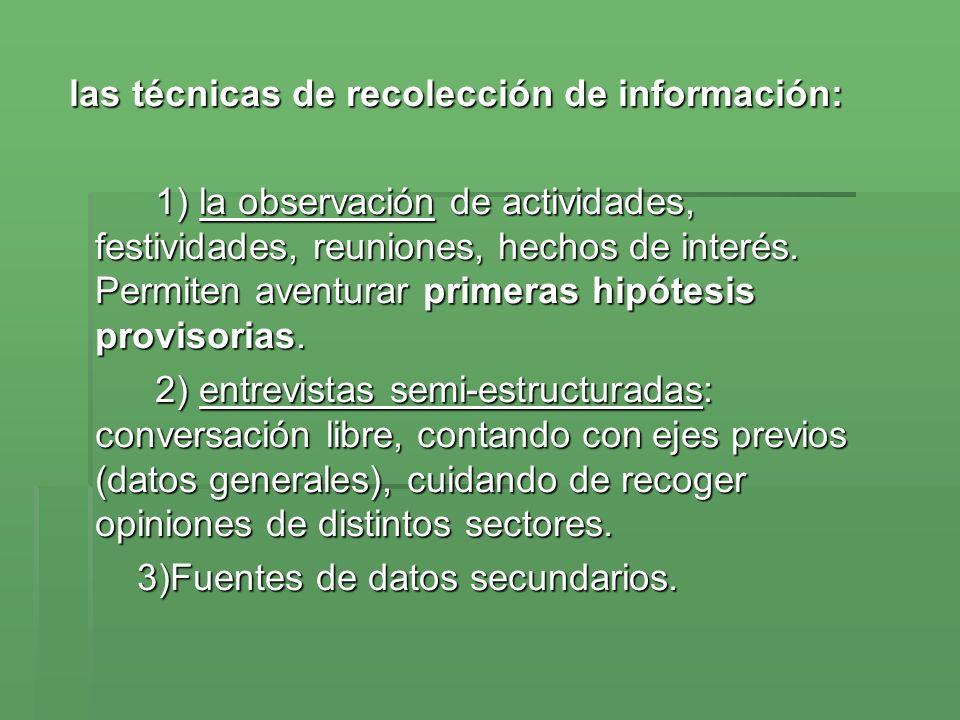 las técnicas de recolección de información: las técnicas de recolección de información: 1) la observación de actividades, festividades, reuniones, hechos de interés.
