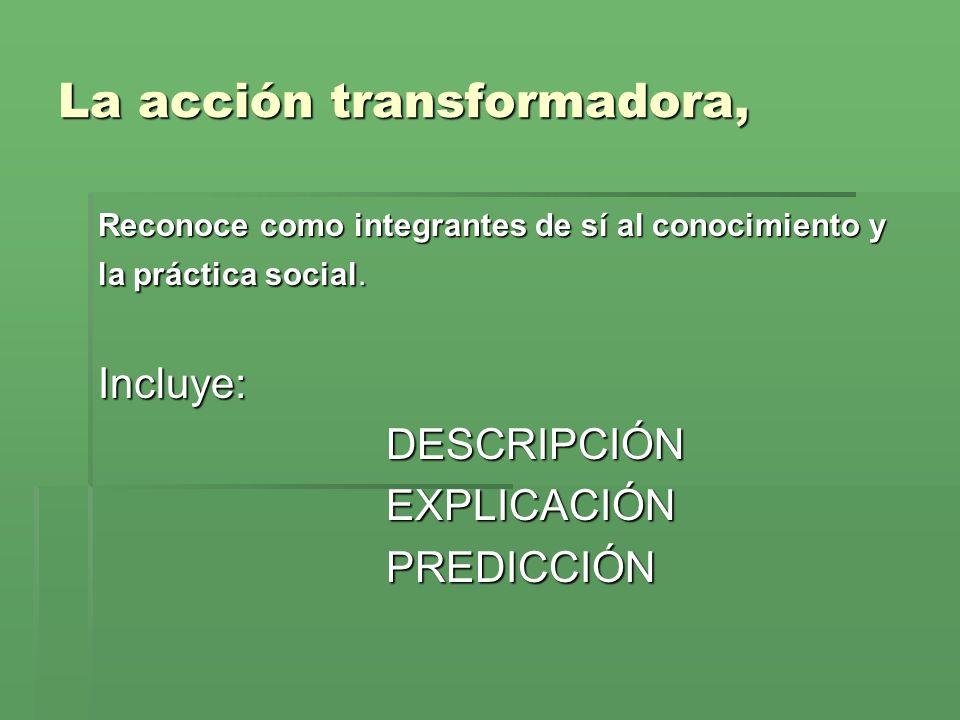 La acción transformadora, Reconoce como integrantes de sí al conocimiento y la práctica social.