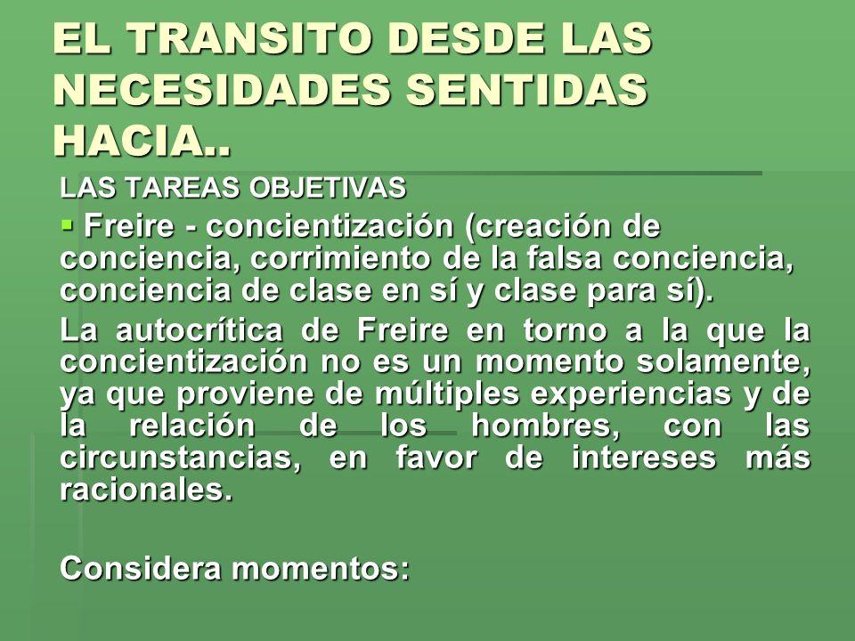 EL TRANSITO DESDE LAS NECESIDADES SENTIDAS HACIA.. LAS TAREAS OBJETIVAS Freire - concientización (creación de conciencia, corrimiento de la falsa conc