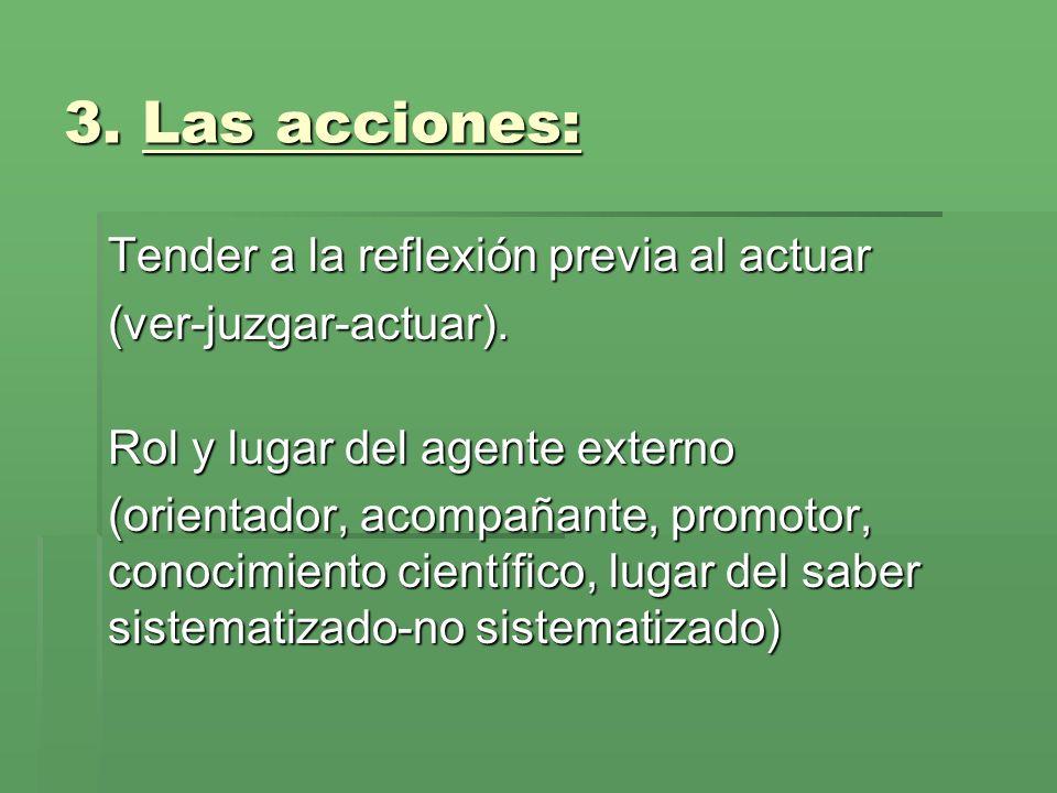 3.Las acciones: Tender a la reflexión previa al actuar (ver-juzgar-actuar).