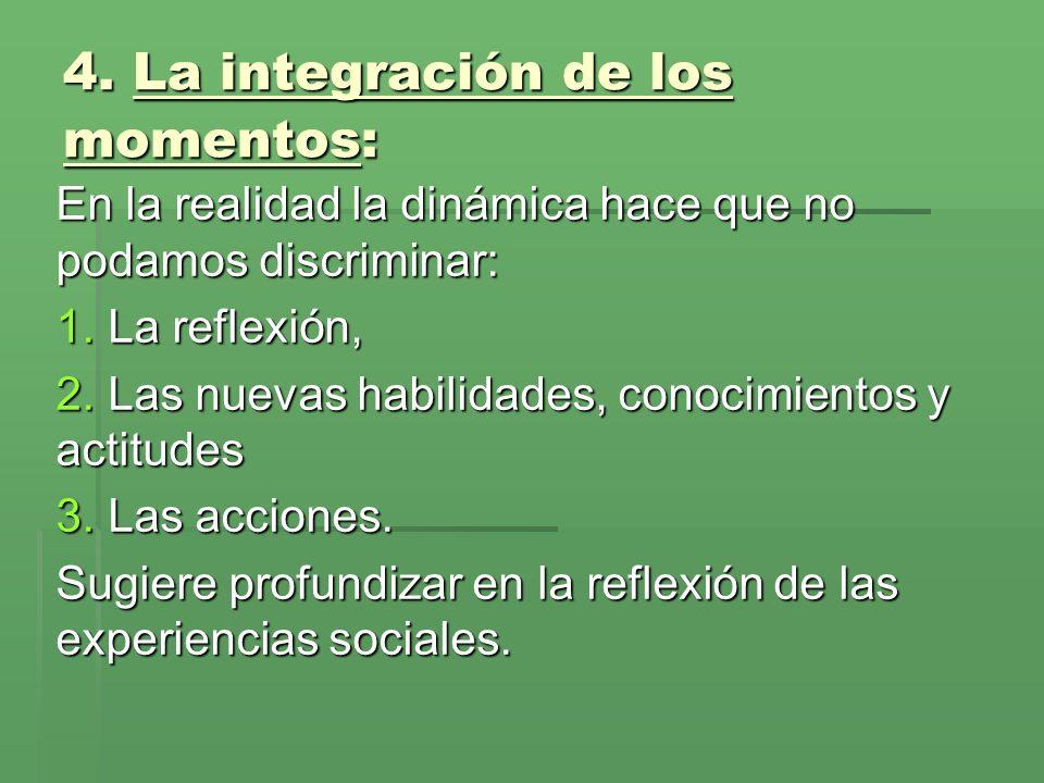 4.La integración de los momentos: En la realidad la dinámica hace que no podamos discriminar: 1.
