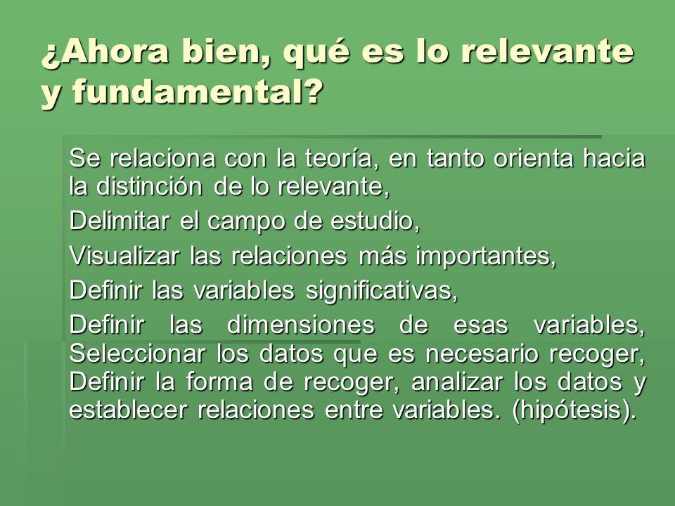 ¿Ahora bien, qué es lo relevante y fundamental? Se relaciona con la teoría, en tanto orienta hacia la distinción de lo relevante, Delimitar el campo d