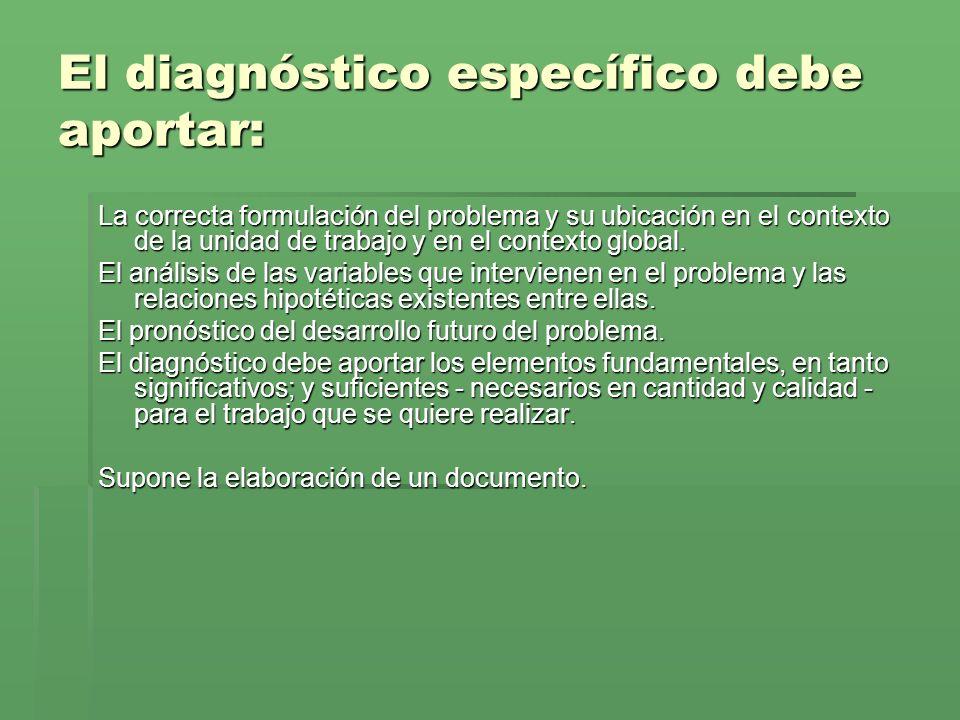 El diagnóstico específico debe aportar: La correcta formulación del problema y su ubicación en el contexto de la unidad de trabajo y en el contexto global.