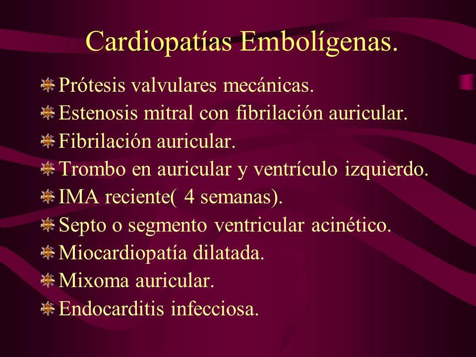 Cardiopatías Embolígenas. Prótesis valvulares mecánicas. Estenosis mitral con fibrilación auricular. Fibrilación auricular. Trombo en auricular y vent