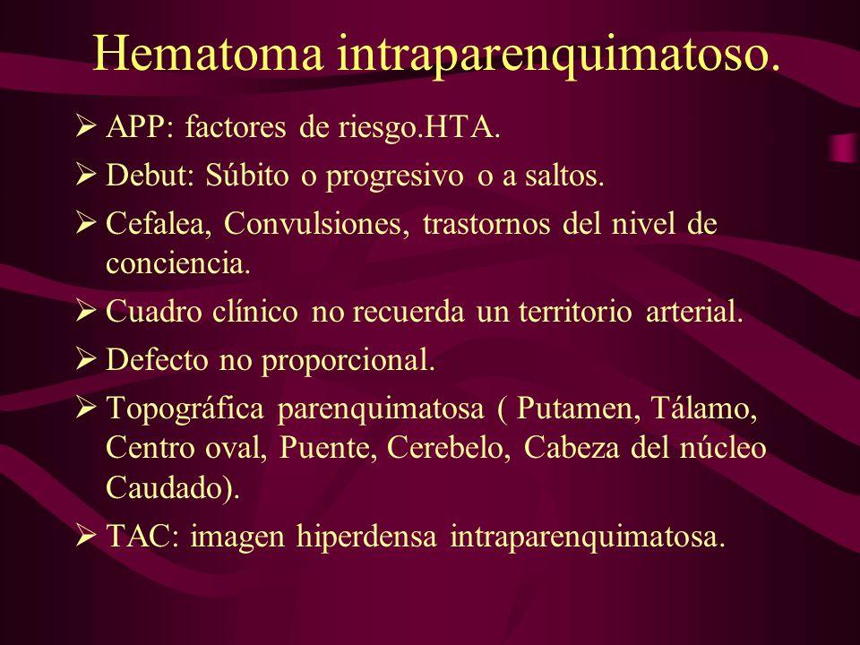 Hematoma intraparenquimatoso. APP: factores de riesgo.HTA. Debut: Súbito o progresivo o a saltos. Cefalea, Convulsiones, trastornos del nivel de conci
