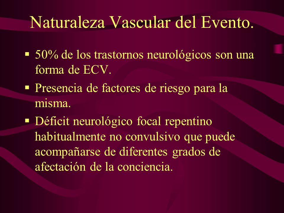 Naturaleza Vascular del Evento. 50% de los trastornos neurológicos son una forma de ECV. Presencia de factores de riesgo para la misma. Déficit neurol
