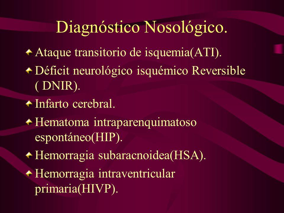 Diagnóstico Nosológico. Ataque transitorio de isquemia(ATI). Déficit neurológico isquémico Reversible ( DNIR). Infarto cerebral. Hematoma intraparenqu