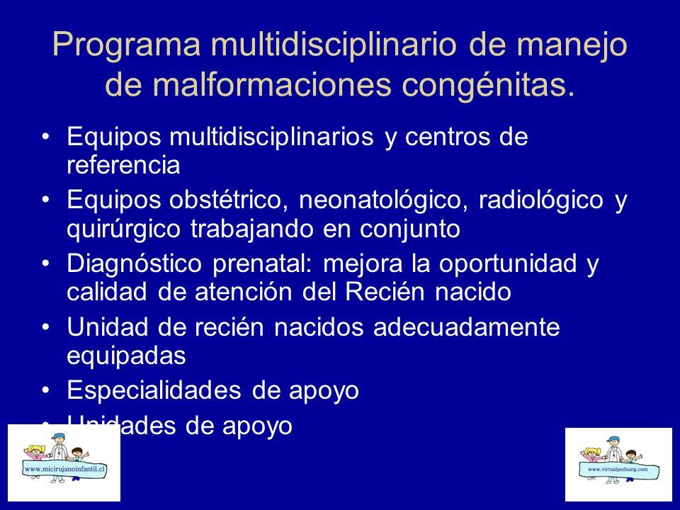 Programa multidisciplinario de manejo de malformaciones congénitas. Equipos multidisciplinarios y centros de referencia Equipos obstétrico, neonatológ