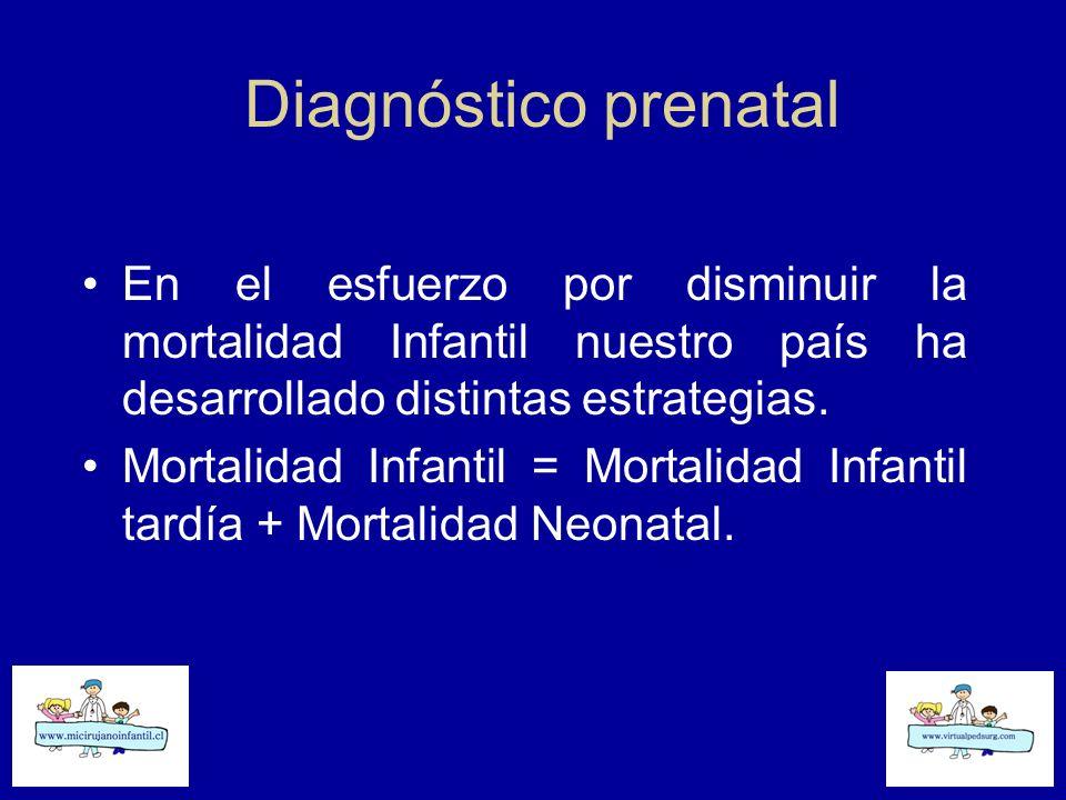 Diagnóstico prenatal En el esfuerzo por disminuir la mortalidad Infantil nuestro país ha desarrollado distintas estrategias. Mortalidad Infantil = Mor