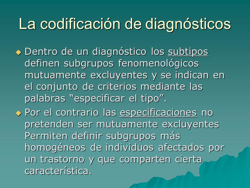 La codificación de diagnósticos Dentro de un diagnóstico los subtipos definen subgrupos fenomenológicos mutuamente excluyentes y se indican en el conj