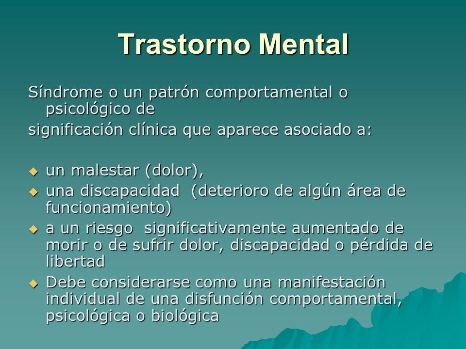Trastorno Mental Síndrome o un patrón comportamental o psicológico de significación clínica que aparece asociado a: un malestar (dolor), un malestar (