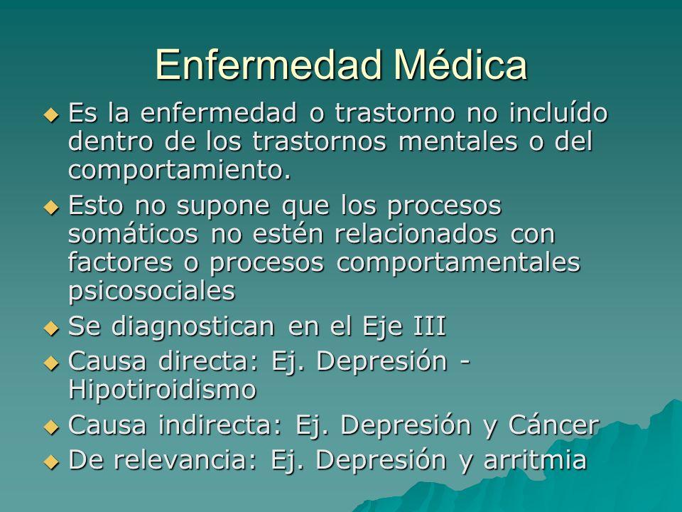 Enfermedad Médica Es la enfermedad o trastorno no incluído dentro de los trastornos mentales o del comportamiento. Es la enfermedad o trastorno no inc
