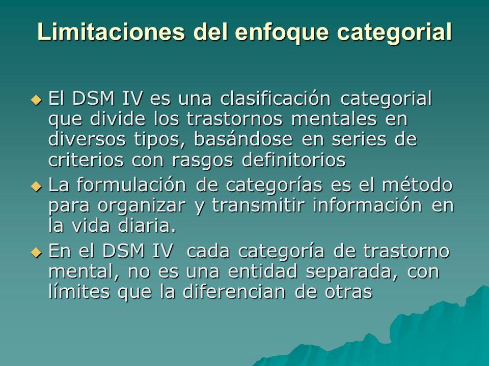 Limitaciones del enfoque categorial El DSM IV es una clasificación categorial que divide los trastornos mentales en diversos tipos, basándose en serie