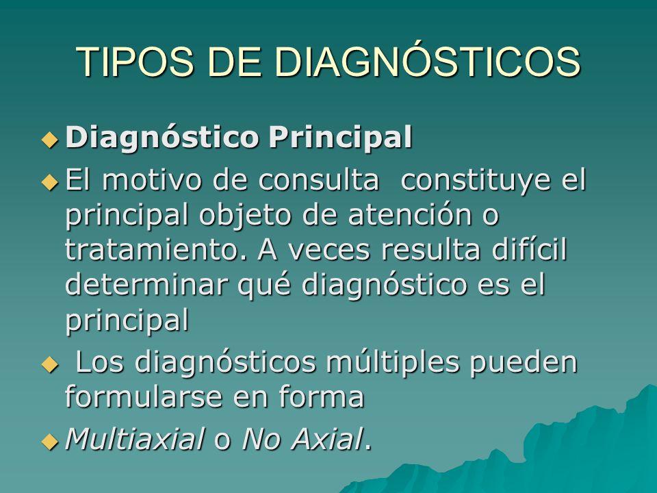 TIPOS DE DIAGNÓSTICOS Diagnóstico Principal Diagnóstico Principal El motivo de consulta constituye el principal objeto de atención o tratamiento. A ve