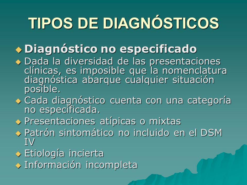 TIPOS DE DIAGNÓSTICOS Diagnóstico no especificado Diagnóstico no especificado Dada la diversidad de las presentaciones clínicas, es imposible que la n