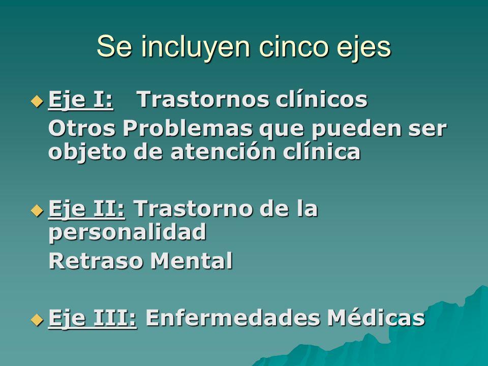 Se incluyen cinco ejes Eje I: Trastornos clínicos Eje I: Trastornos clínicos Otros Problemas que pueden ser objeto de atención clínica Eje II: Trastor